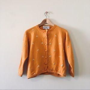 Vintage burnt orange & gold cardigan sweater XS